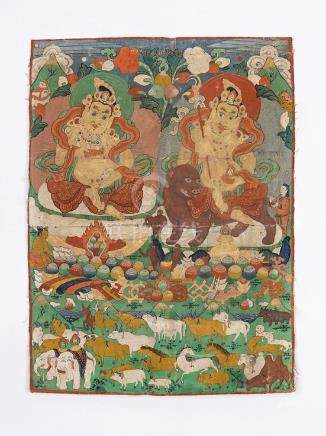 QING DYNASTY A THANGKA FIGURE OF TWO JAMBHALAS