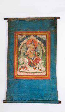 TIBET,QING DYNASTY A THANGKA FIGURE OF SAMANTABHADRA