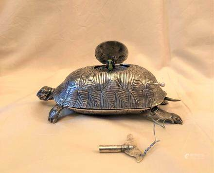 Sterling Silver Turtle Shaped Singing Bird Box Automato