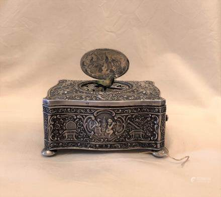 Sterling Silver Angels Decor Singing Bird Box Automaton
