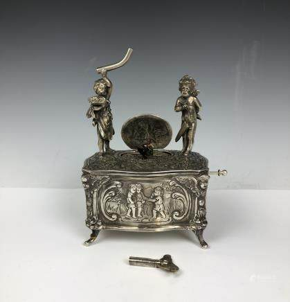 Sterling Silver Singing Bird Music Box Automaton,