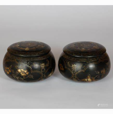 CHINESE GILDED BLACK LACQUER GO BOX