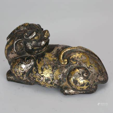 CHINESE BRONZE BEAST WITH GILT AND SILVER