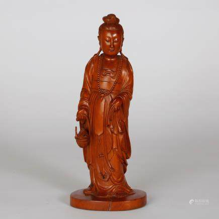 CHINESE BOXWOOD CARVED GUANYIN