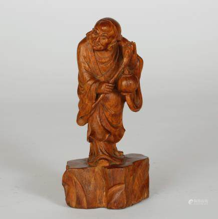 CHINESE HUALI WOOD CARVED LOHAN