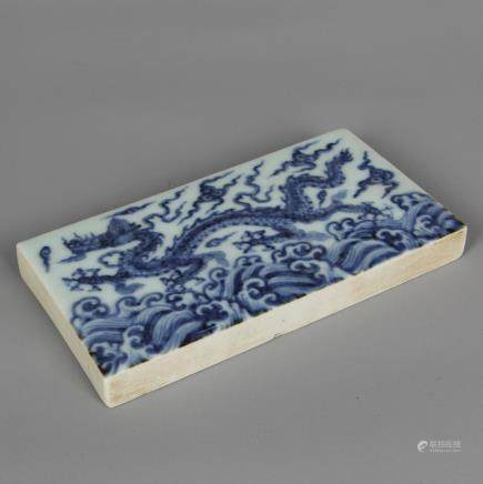CHINESE BLUE AND WHITE DRAGON PLAQUE