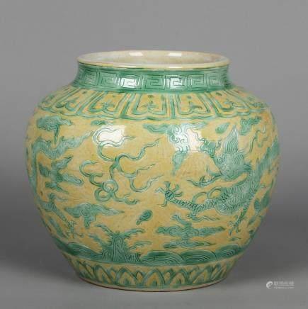 CHINESE YELLOW GROUND GREEN DRAGON JAR