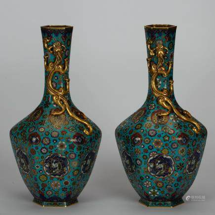 CHINESE CLOISONNE CHILONG VASES, PAIR