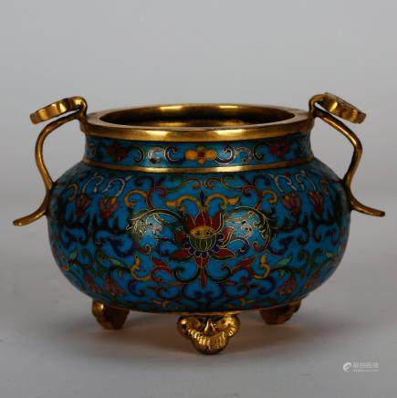 CHINESE CLOISONNE RUYI HANDLE CENSER