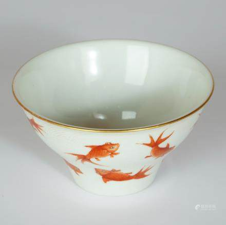 CHINESE PORCELAIN BOWL DECORATED WITH GOLDFISH
