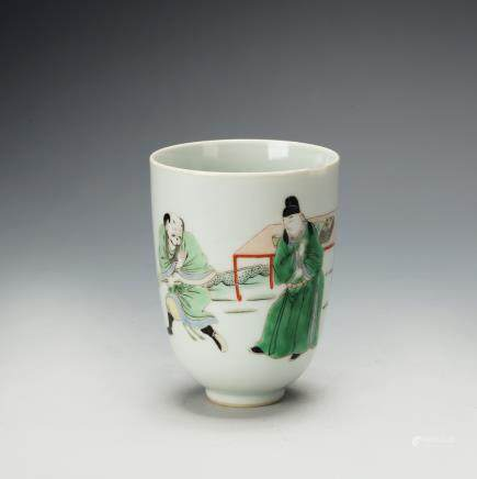 CHINESE FAMILLE VERTE PORCELAIN CUP