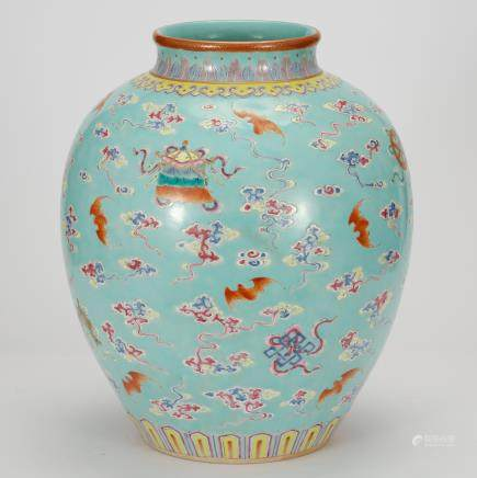 CHINESE TURQUOISE GROUND FAMILLE ROSE JAR