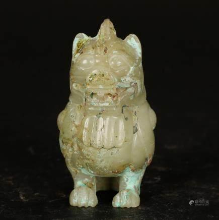 CHINESE JADE CARVED BEAST