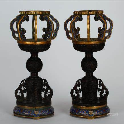 CHINESE PAIR OF CLOISONNE HAT STANDS