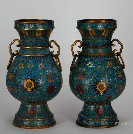 CHINESE CLOISONNE ZUN VASES, PAIR