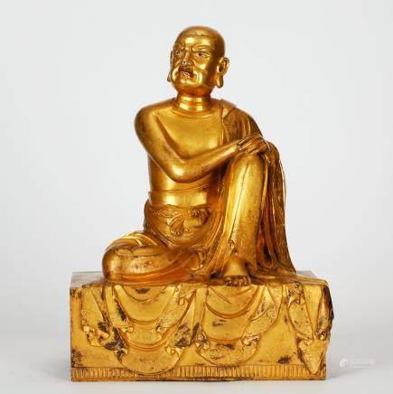 CHINESE GILT BRONZE BUDDHIST FIGURE