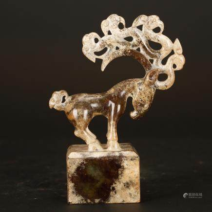 CHINESE JADE CARVED DEER CENSER
