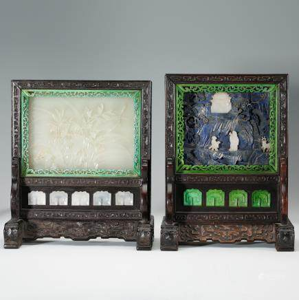 CHINESE WHITE JADE AND LAPIS TABLE SCREENS