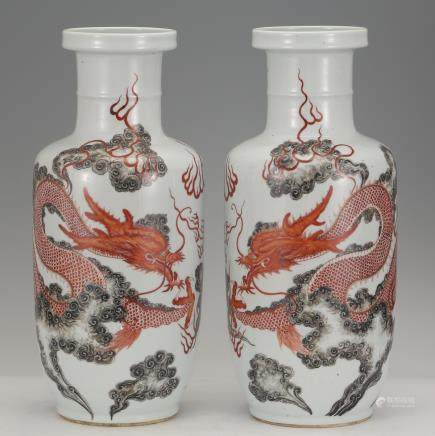 CHINESE INK PAINTED DRAGON ROULEAU VASES