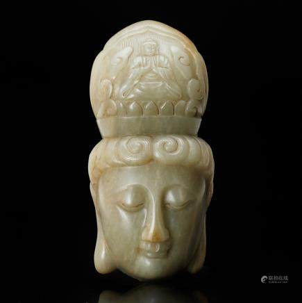CHINESE CELADON JADE HEAD OF GUANYIN