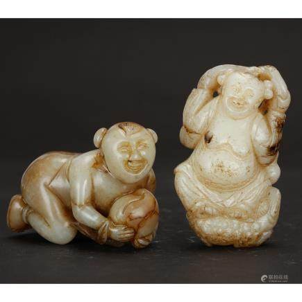 CHINESE WHITE JADE CARVED BOYS