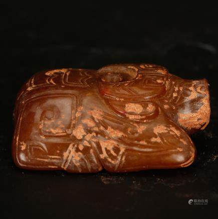 CHINESE JADE CARVED BUFFALO