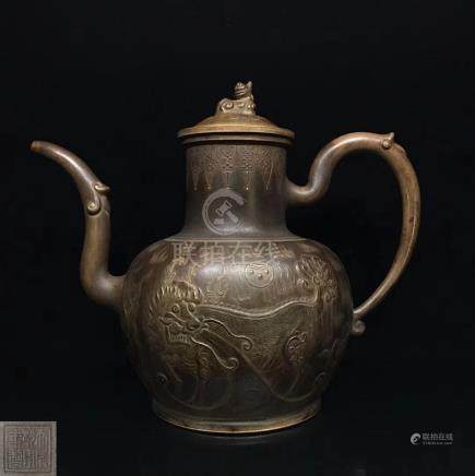 A DRAGON&PHOENIX DESIGN POT WITH QIANLONG MARK