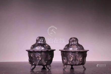 PAIR ZITAN WOOD CARVED CENSERS