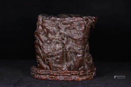 A CHENXIANG WOOD CARVED BRUSH POT