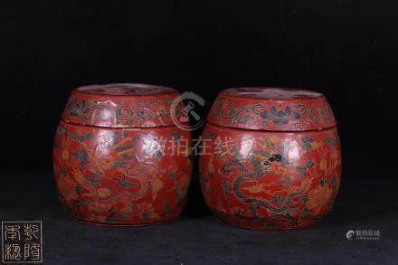 PAIR OF LACQUERWARE DRAGON AND PHOENIX JARS
