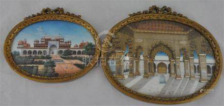 Two Indian gouache on Ivory studies, early 20th century, being of the exterior and interior of