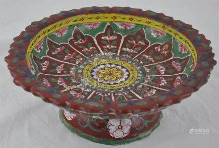 A Sawankalog (Siam) glazed earthenware pedestal dish, painted in green, blue, yellow and iron red,