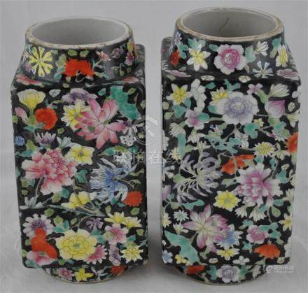 A pair of Qing dynasty Chinese Cong vases, decorated with millifleur pattern, character mark to