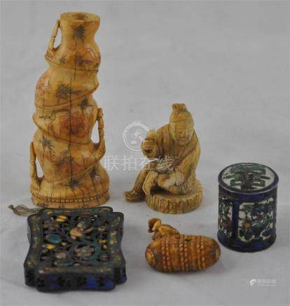 A group of five oriental items. comprising Chinese ivory bamboo branch vase, circa 1910, 11.5cm
