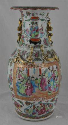 Chinese export Canton rose medallion pattern vase, c.1880 height 45cm. Condition; restoration to top