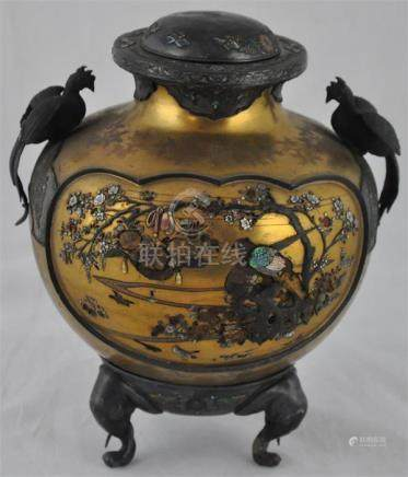 A Japanese Shibayama inlaid two handled vase and cover, Meiji period, (1868-1912), of compressed
