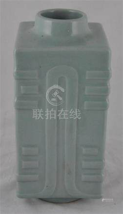 A Japanese celadon rectangular Cong vase, early 20thcentury, in the style of the Ching dynasty