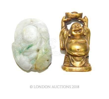 Jade Buddha pendant and bronze Buddha
