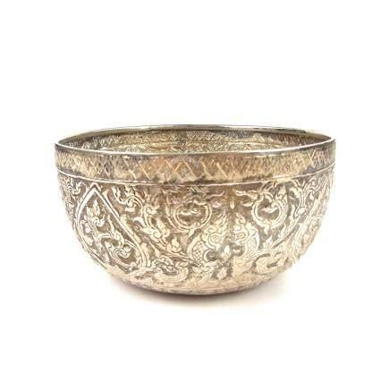 A silver bowl, Thailand, 20th century.