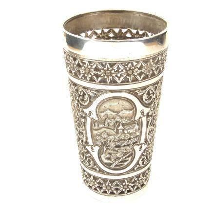 An Indian silver beaker, circa 1890.
