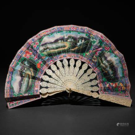 Abanico telescópico Chino de las mil caras en marfil tallado. Trabajo Chino, Siglo XIX.