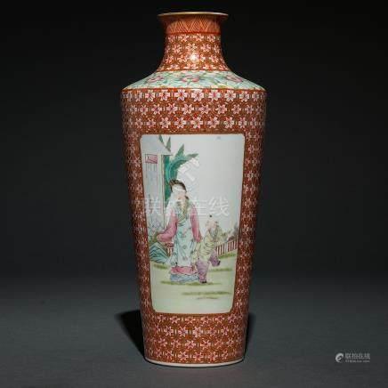 Jarrón en porcelana china familia rosa. Trabajo Chino, Siglo XX.