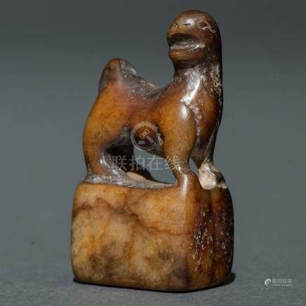 """""""León Foo"""" Sello chino realizado en jade color marrón. Trabajo Chino, Finales del siglo XIX-XX."""