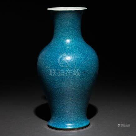 Jarrón en porcelana china Robin Egg blue. Trabajo Chino, Siglo XIX-XX.