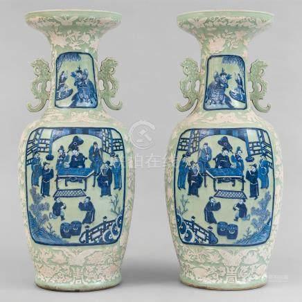 Importante pareja de jarrones chinos en porcelana de celadón. Trabajo Chino, Siglo XIX-XX