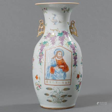 Jarrón en porcelana china. Trabajo Chino, Siglo XIX