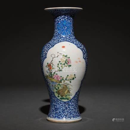 Jarrón en porcelana chinna azul y blanca. Trabajo Chino, Siglo XIX-XX