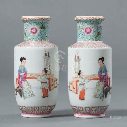 Pareja de jarrones en porcelana familia rosa. Trabajo Chino, Siglo XX