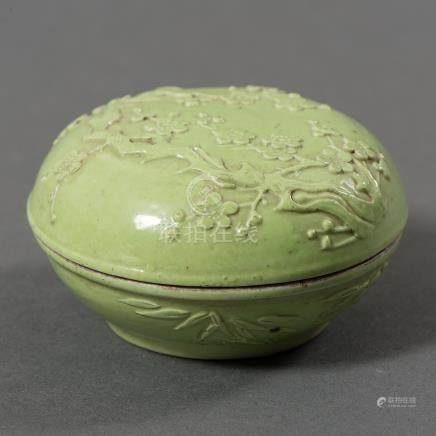Polvera china en porcelana esmaltada color verde. Trabajo Chino, Siglo XIX-XX