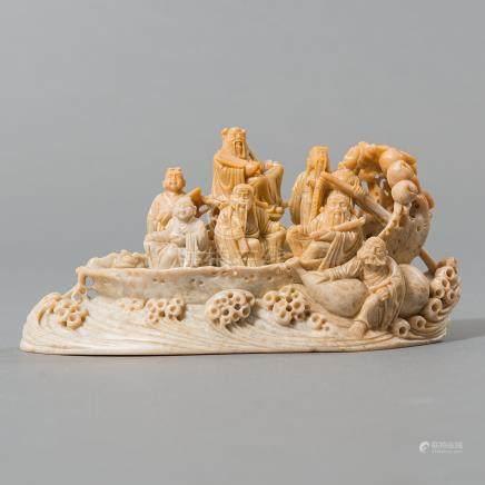 """""""Ocho inmortales  en barco sagrado"""" Conjunto de ocho inmortales realizado en piedra dura. Trabajo Chino, Siglo XX"""